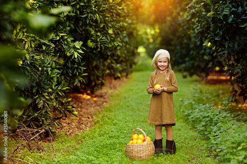 Fotomural  Charming little girl with wicker basket full of oranges standing in green garden