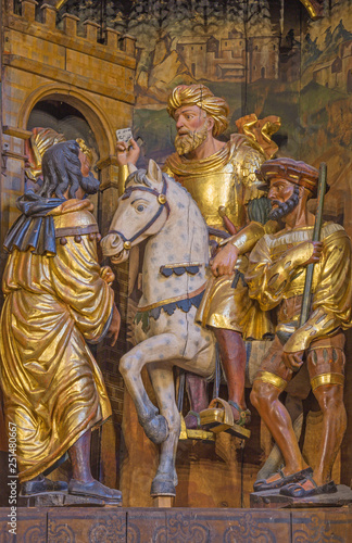 ZARAGOZA, SPAIN - MARCH 3, 2018: The St. Paul (Saul) as persecutor of first christians - carved main altar in the church Iglesia de San Pablo by Damian Forment (151 - 1535).