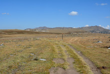 Country Road In The Bighorn Mountains Of Wyoming.