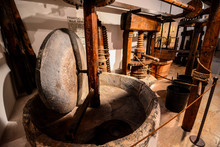 Vintage Ancient Italian Olive Oil Machine Used To Make Oil, Oil Mill