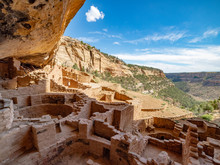 Long House Cliff  Dwelling Kivas In Mesa Verde National Park