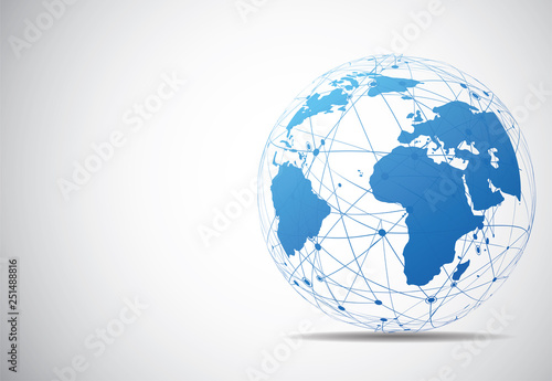 Fototapeta Global network connection. World map point and line composition concept of global business. Vector Illustration obraz