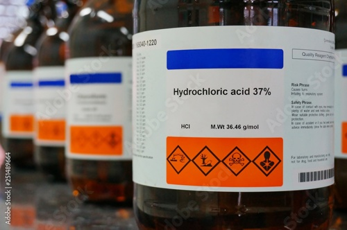 Fotografie, Obraz  Bottle of Hydrochloric Acid, HCL with Properties information and its chemical hazard warning symbols