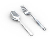 3d Illustration Of Fork And Sp...