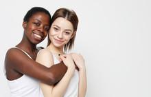 Shot Of Happy Interracial Homosexual Couple Hugging