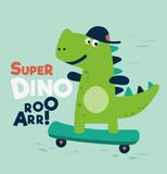 Fototapeta Dino - Cute dinosaur rides on skateboard. Tyrannosaur skateboarder
