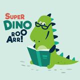 Fototapeta Dinusie - Cute dinosaur reads a book. Funny tyrannosaur