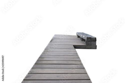 Wooden bridge isolated on white background.