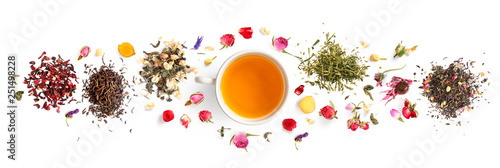 Fotografie, Obraz  Creative layout made of cup of tea, green tea, black tea, fruit and herbal, tea, turmeric, ginger on white background