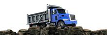 Dumper Truck At Sunset. 3d Rendering