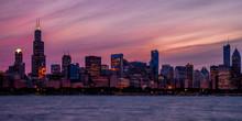 Chicago Skyline Panorama At Sunset