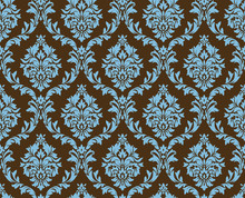 Vector Seamless Damask Pattern. Blue And Brown Colors