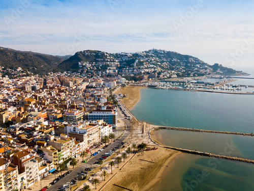 Canvas Print Aerial view of Roses, Spain