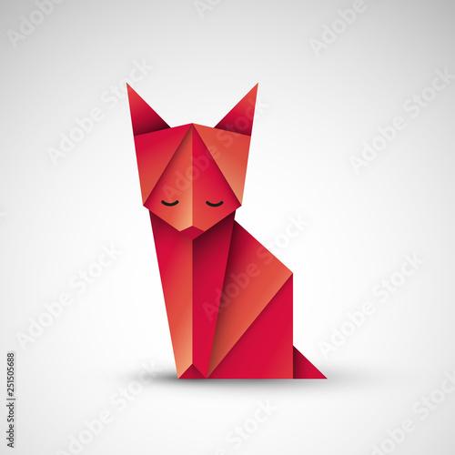 Fototapeta kot origami wektor obraz