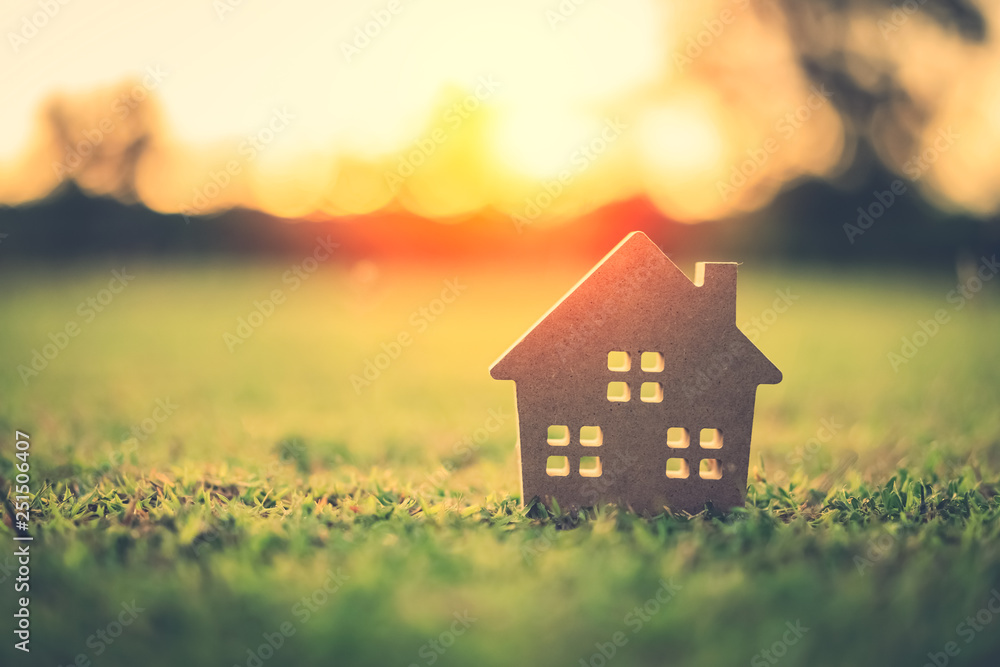 Fototapety, obrazy: Copy space of home and life concept. Small model home on green grass with sunlight abstract background.