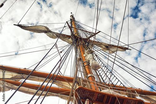 Valokuva  mast of old sailing ship on the sky background