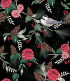 Vector illustration of a seamless floral pattern in winter for Happy New Year and Merry Christmas cards. A beautiful hand drawn illustration with cute birds on branches.  - 251510664