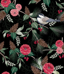 Panel Szklany Zima Vector illustration of a seamless floral pattern in winter for Happy New Year and Merry Christmas cards. A beautiful hand drawn illustration with cute birds on branches.