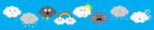 White Dark Cloud Emoji Emotion Icon Set Line. Fluffy Clouds. Sun, Rainbow, Rain Drop, Wind, Thunderbolt Storm Lightning. Cute Cartoon Kawaii Cloudscape Flat Design Blues Sky Background Isolated