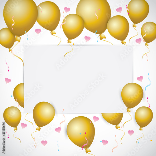 Happy Birthday Party Invitation Card With Balloons Gifts