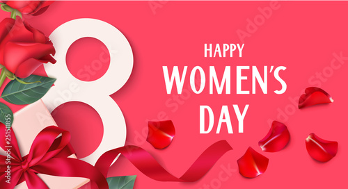 Obraz Happy Womens Day. 8 March design template. Decorative gift box with roses. Vector illustration - fototapety do salonu
