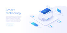 Internet Of Things Layout. IOT Online Synchronization And Connection Via Smartphone Wireless Technology. Smart Technology Concept With Isometric Icons And Symbols. Vector Illustration.