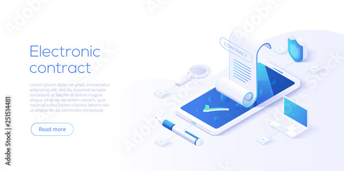 Fotografía  Electronic contract or digital signature concept in isometric vector illustration