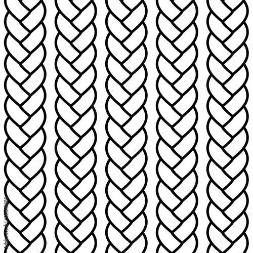 Obraz Black and white braided rope seamless pattern, vector - fototapety do salonu
