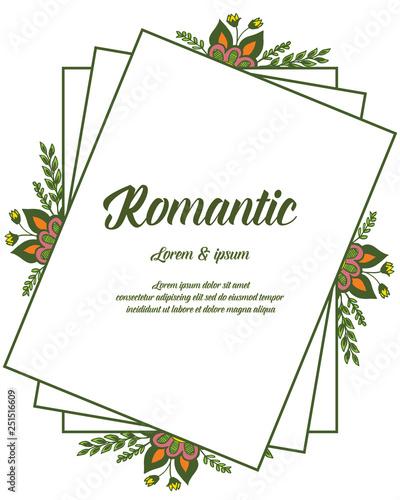 Fototapety, obrazy: Vector illustration design leaf floral frame for greeting card romantic hand drawn