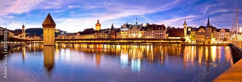 Luzern Kapelbrucke and riverfront architecture famous Swiss landmarks panoramic Fototapet