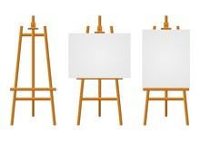 Wood Easels Or Painting Art Boards With White Canvas Of Different Sizes. Easels With Horizontal And Vertical Paper Sheets. Artwork Blank Poster Mockups. Vector Illustration