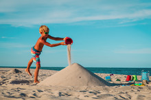 Cute Boy Play With Sand At Sea, Kid Building Castle On Tropical Beach