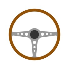 Steering Wheel Retro Car Icon ...