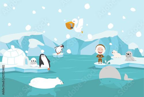 Keuken foto achterwand Lichtblauw Cartoon North pole Arctic landscape