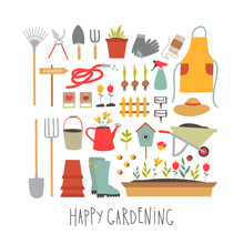 Happy Gardening. Vector Garden...