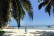 luxury woman travel tropical beach