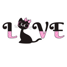 Cute Black Cat With A Pink Bow...