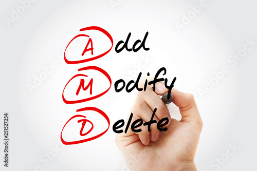 Hand writing with marker AMD acronym, Add, Modify, Delete, concept background Fototapet