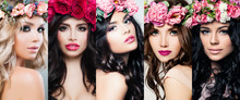 Beautiful Women Face Set. Colo...