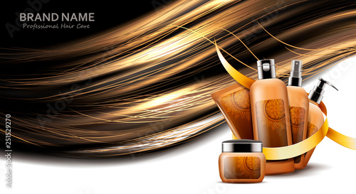 Fotografie, Obraz  Cosmetic bottles of diffrent products for hair care