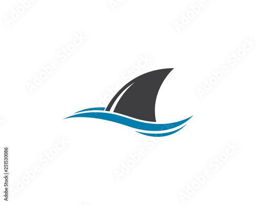 Cuadros en Lienzo Shark fin logo template vector icon illustration design