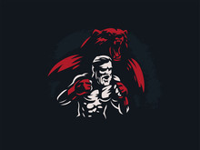 Fighter Mixed Martial Arts Wit...