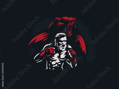 Fighter mixed martial arts with bear. Fototapeta