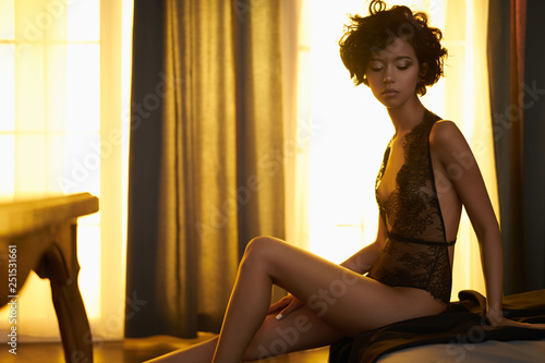Foto op Canvas womenART beautiful woman in sexy lingerie pose in home interior