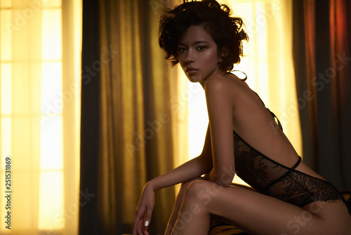 Spoed Foto op Canvas womenART beautiful woman in sexy lingerie pose in home interior