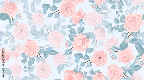 Stoffe zum Nähen Floral Roses Pattern in Pastel Colors.