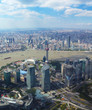 Pudong districs of Shanghai - aerial wide angle view