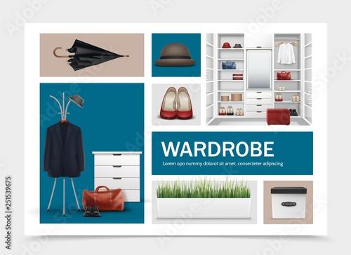 Fotomural Realistic Cloakroom Elements Set