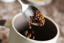 Freeze-dried Coffee In A Spoon And Cup