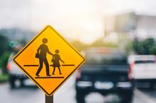 School Zone Warning Sign On Bl...